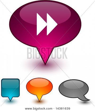 Forward glossy speech vector icons.