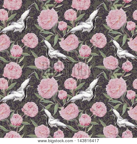 Crane birds dancing in blooming flowers. Seamless floral pattern with chinese ornamental decor. Watercolor