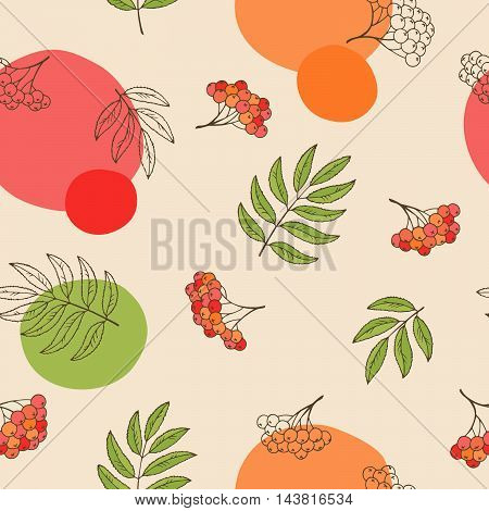 Rowan berry seamless pattern graphic art red green color illustration vector