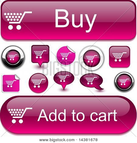 Shopping vector glossy icons.
