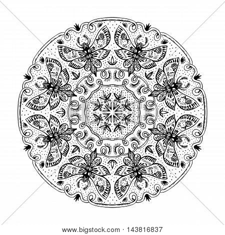 Night Moths black and white mandala. Round zenart. Symmetric ornament with night butterflies. Vintage design element. Vector illustration.
