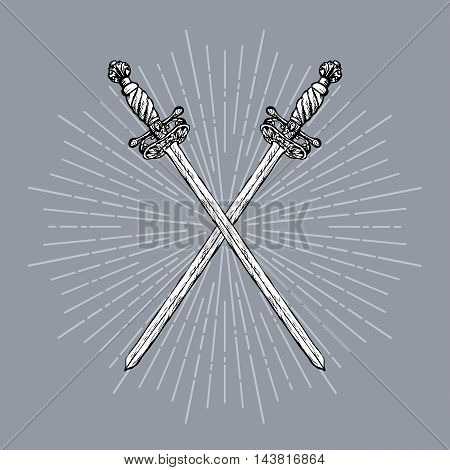 Two crossed ornate hand drawn swords and rays vintage elements. Hipster style. Vector illustration.