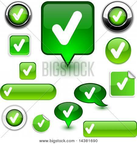 Check vector glossy icons.