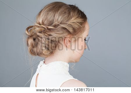 Bridal or Prom Hairstyle. Girl. Back View