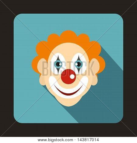 Head of clown icon in flat style on a baby blue background