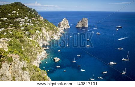 Faraglioni rocks and Capri island in Italy
