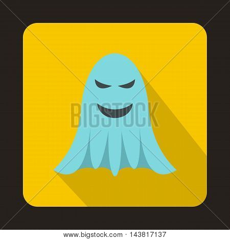 Ghost icon in flat style on a yellow background