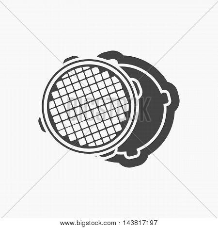 Open metal manhole icon black. One icon of a large plumbing black.