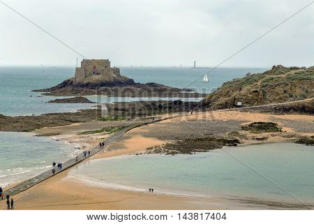 view of Petit Be fort from Saint-Malo walls France