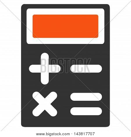 Calculator icon. Vector style is bicolor flat iconic symbol with rounded angles, orange and gray colors, white background.