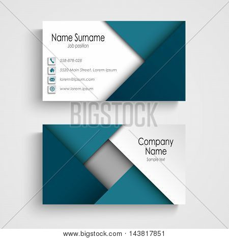 Business card with abstract blue triangles template vector eps 10