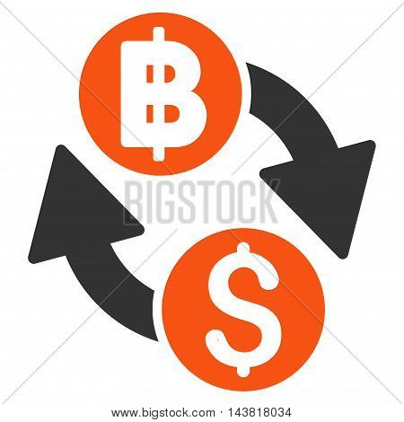Dollar Baht Exchange icon. Vector style is bicolor flat iconic symbol with rounded angles, orange and gray colors, white background.