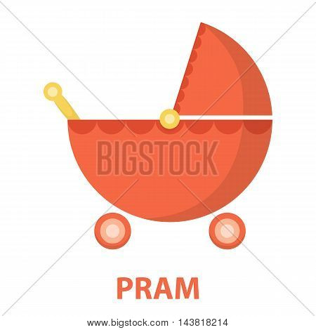 Pram cartoon icon. Illustration for web and mobile.