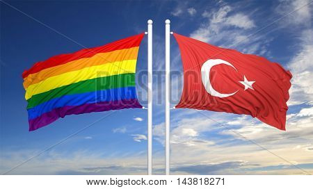3d rendering rainbow colors flag with Turkey flag