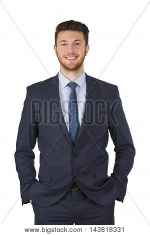 Smiling businessman looking at camera Working Businessman Conceptual