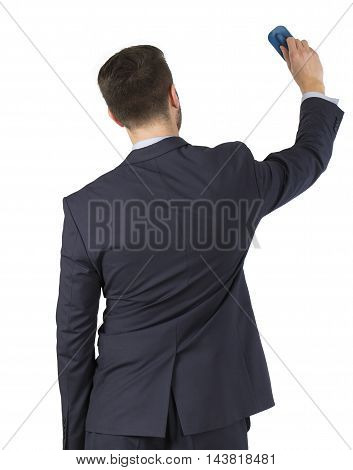 Man wipes the board isolated Working Businessman Conceptual