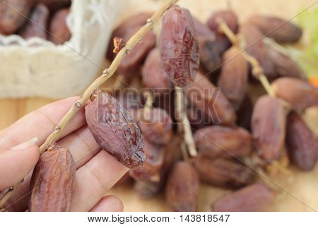 Dried date palm delicious on wood background