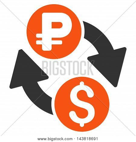 Dollar Rouble Exchange icon. Vector style is bicolor flat iconic symbol with rounded angles, orange and gray colors, white background.