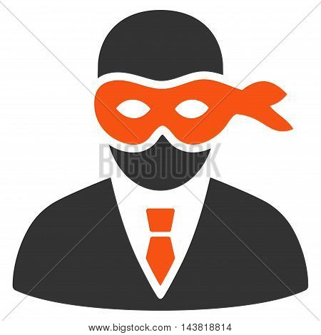 Masked Thief icon. Vector style is bicolor flat iconic symbol with rounded angles, orange and gray colors, white background.