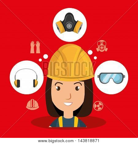 woman worker equipment protection vector illustration design