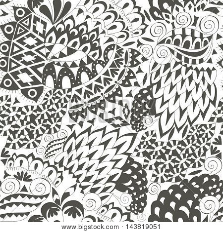Vintage Ethnic Seamless Background. Boho Pattern. Black and White Ornament.  Decorative Background for Fabric.