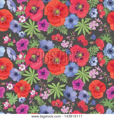 Seamless  Floral Pattern with Poppies and Anemones. Summer Fashion Ornament for Fabric and Wrapping Paper.