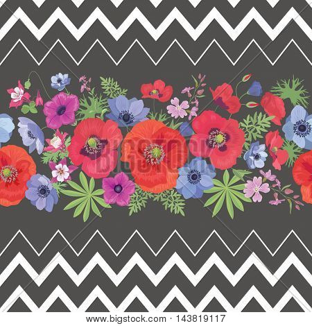 Beautiful Flower Seamless Pattern with Zigzag Stripes . Summer Ornament with Poppies and Anemones.  Background with Garden Flowers.