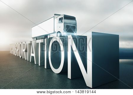 Transportation Text With Truck