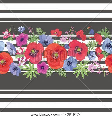 Beautiful Flower Seamless Pattern with Strips.  Ornament with Poppies. Fashion Background for Fabric, Wrapping, Wallpaper.