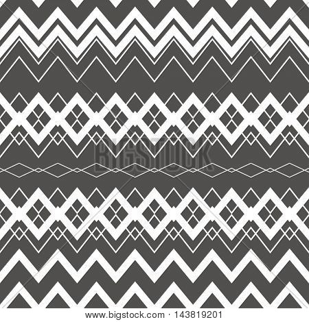 Tribal Boho Seamless Pattern. Ethnic Geometric Ornament. Vintage Seamless Background. Boho Texture for Fabric, Wallpaper and Wrapping. Black and White Pattern.