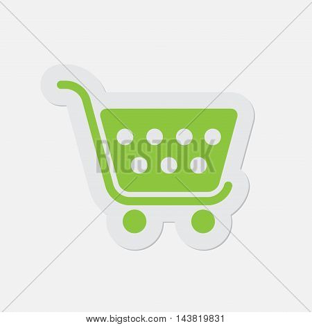 simple green icon with contour and shadow - shopping cart on a white background