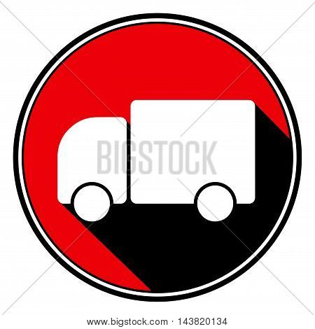 information icon - red circle black outline and white lorry car with stylized black shadow