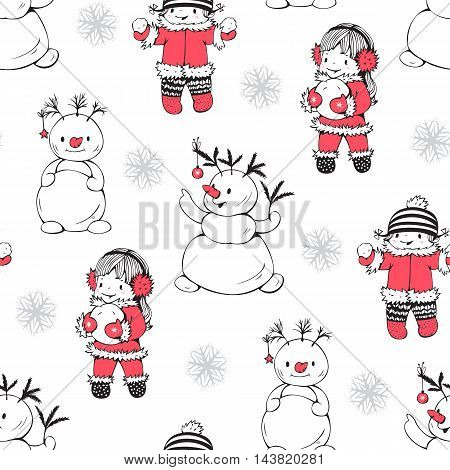 Seamless pattern with little girls and snowmen. Hand-drawn illustration. Vector.