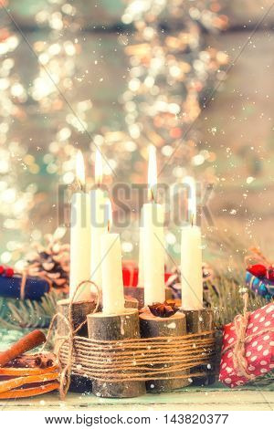 Christmas Decoration On Abstract Background,vintage Filter,soft Focus