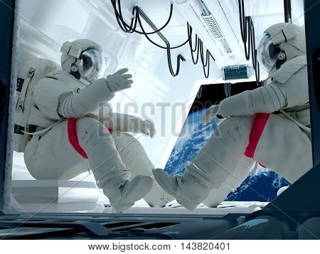 Group astronauts inside the spacecraft..3d render