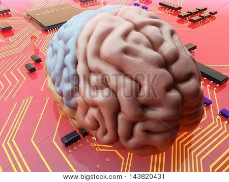 Human brain to the electronic circuit.,3d render