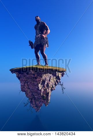 Primitive man on the island in the sky.,3d render