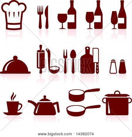 kitchen supplies and cooking design elements