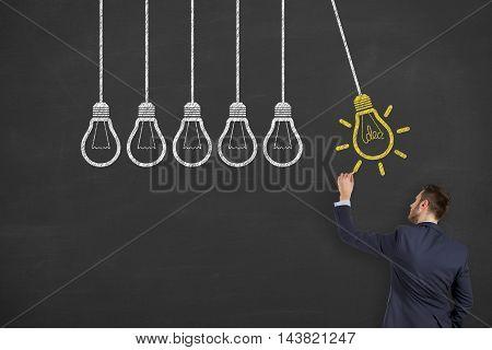 Idea Drawing Work on Blackboard Working Businessman Conceptual