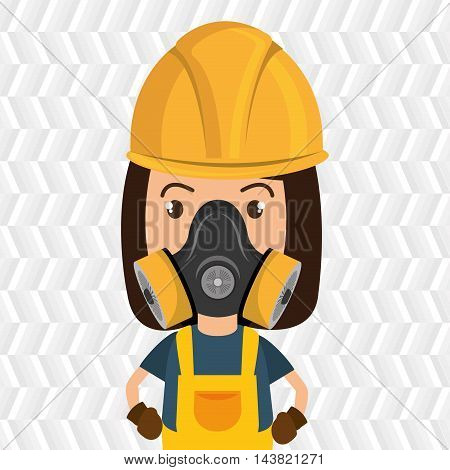 woman worker mask gas vector illustration design