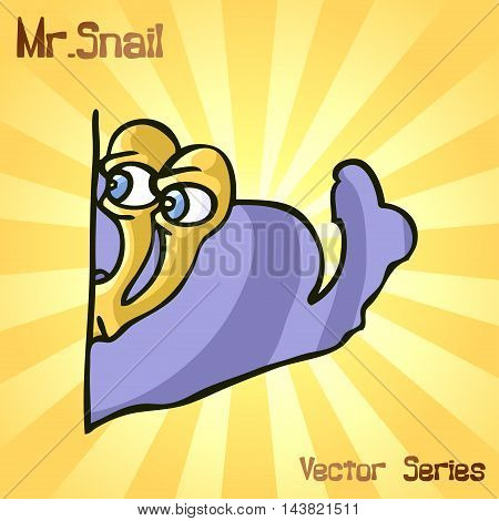 Mr. Snail as a spy. vector illustration EPS10