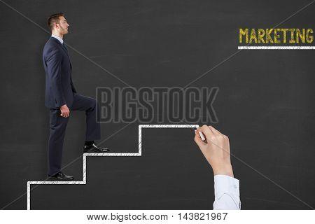 Marketing Teamwork Stairs on Blackboard Working Businessman Conceptual