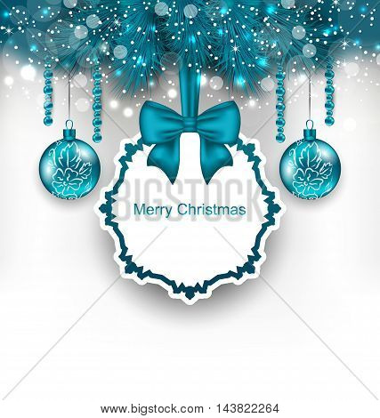 Illustration Christmas gift card with glass balls - vector