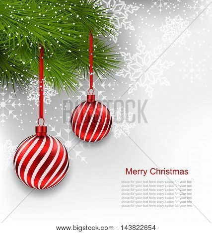 Illustration Christmas Background with Hanging Red Glass Balls and Fir Branches - vector