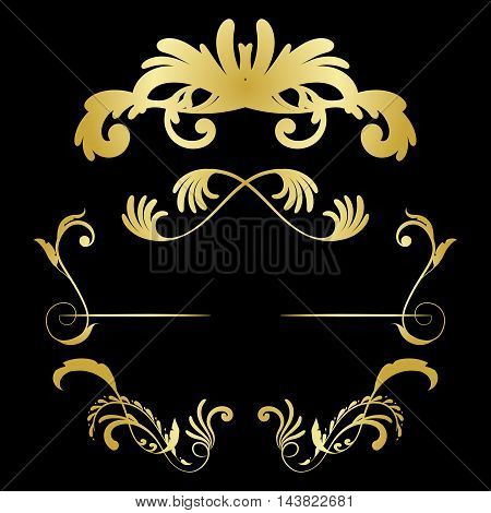 Vector set of decorative hand drawn elements with flowers for design invitation, greeting, wedding card, diploma. Vector illustration.
