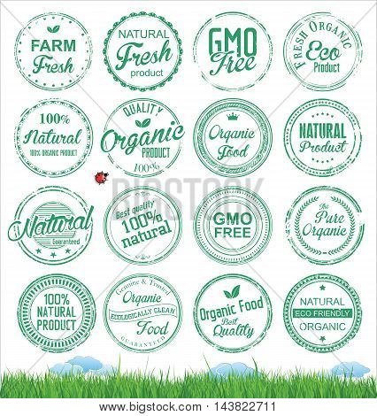 Organic food labels and badges. Organic element for food and drink.