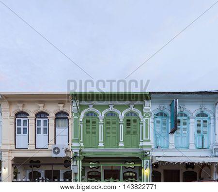 Beautiful old Windows Sino-Portuguese style in Phuket Thailand