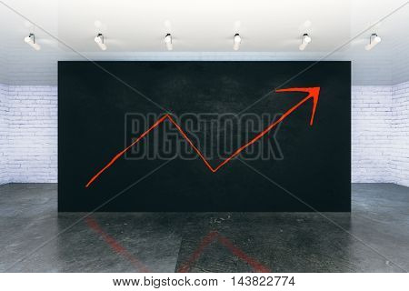 Upward arrow sketch and black wall in modern interior. Success concept. 3D Rendering