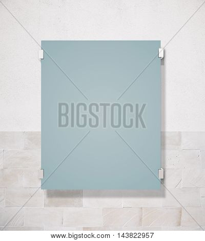 Matte glass plate on concrete tile wall background. Mock up 3D Rendering