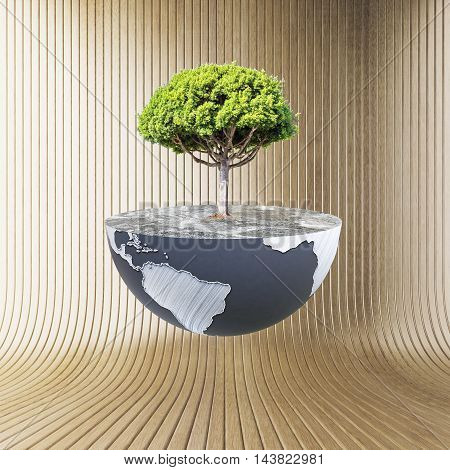 Half a globe with large tree on wooden background. Green earth concept.  3D Rendering